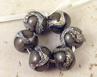 Handmade Lampwork Glass Bead Set of 6 14x11mm Dark Gray