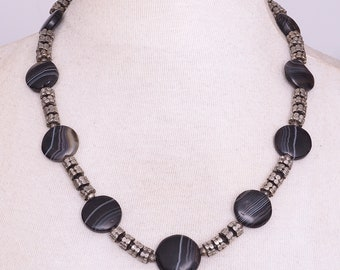 Ethnic necklace. Ancient banded agates & antique granulated silver beads. Tribal, ethnic jewelry