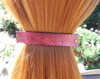 Leather French hair barrette, Handmade Tooled Leather Hair Clip, women Hair Accessory, burgundy flower, hair fashion, Ponytail Holder