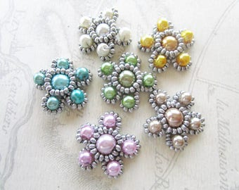 Set of 6 woven beaded embellishment Renaissance and seed beads
