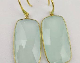 Handmade Sterling Silver Aqua- Calcydony Earrings