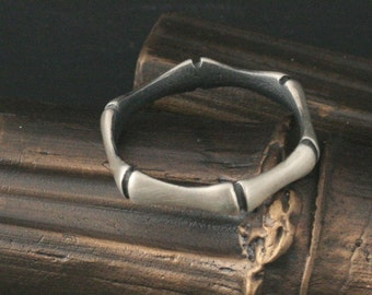Bamboo Ring--Hand Carved and Cast in Solid Sterling Silver--Custom made to YOUR Size - Asian Art Inspired Jewelry - Elven Inspired Ring