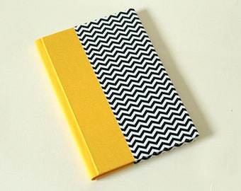 Yellow Black and White Chevron Single Section Hardback Soft Spine - Blank Journal Notebook