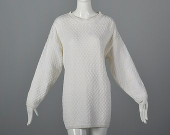 Large 1980s Sweater Deadstock White Cable Knit Sweater Long Sleeves Tunic Length Pull Over Styling 80s Vintage