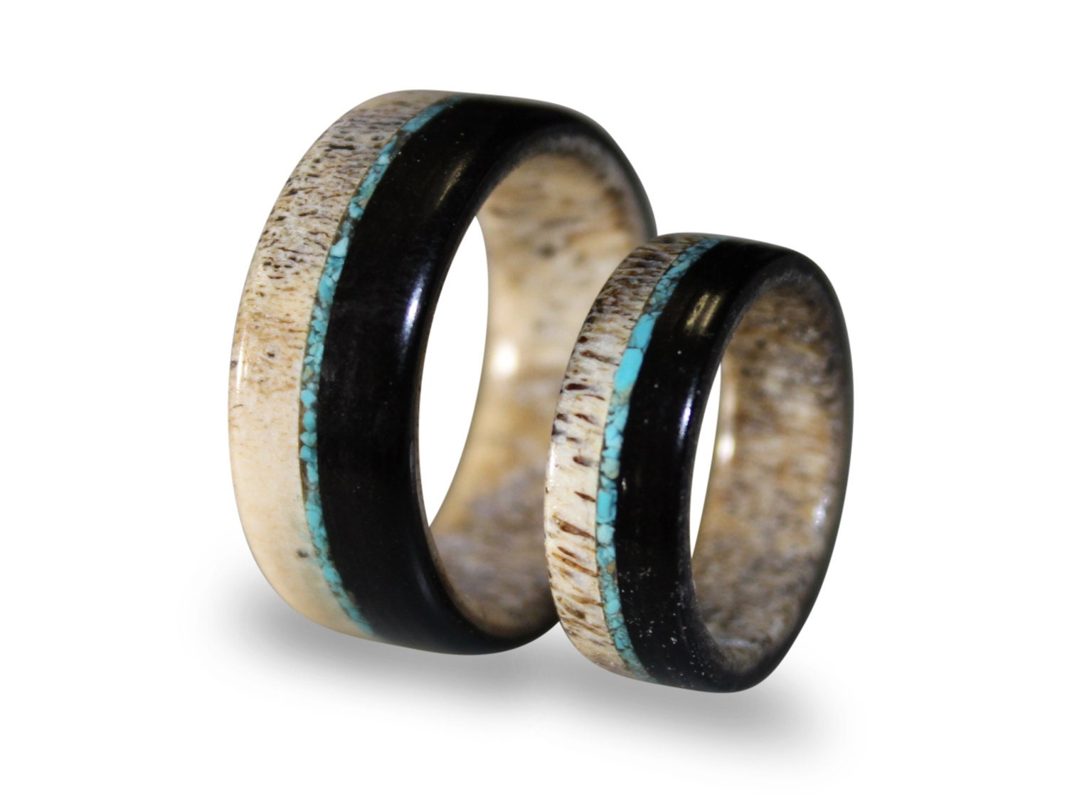 Wedding Band Set Deer Antler Ring Set With Ebony Wood And