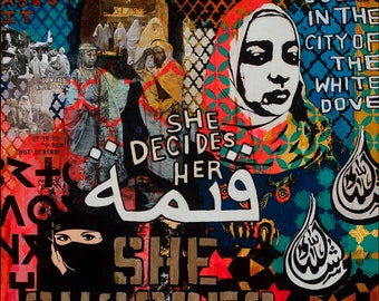 She chooses, mixed media painting by Juliana Coles