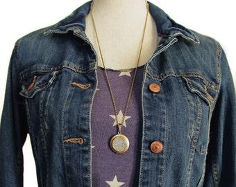 Glitter Locket- Sparkling Silver Bling Glitter Locket Necklace