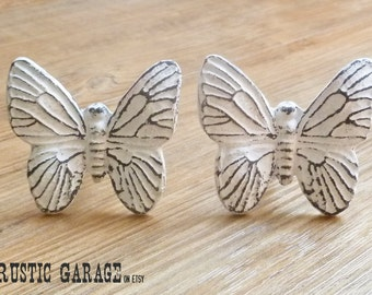 SET OF 2  - Large White Cast Iron Butterfly Knob - Distressed White Butterfly Knob - Hardware Drawer Pull - Butterflies Nursery Decor