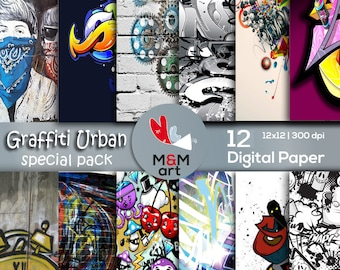 Print Graffiti Urban  12 Digital Paper Pack Printable Instant Download  Wall Paper 12x12 inches