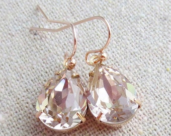 Swarovski Crystal Blush Pink Teardrop Simple Delicate Dangling Rose Gold Bridal Earrings Wedding Jewelry Bridesmaids Gifts
