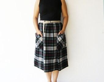 Vintage 70s Skirt / Wool Plaid Skirt / Size L