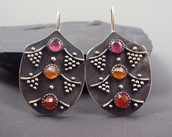 Granulated Tribal Juicy Earrings with Carnelian and Ruby