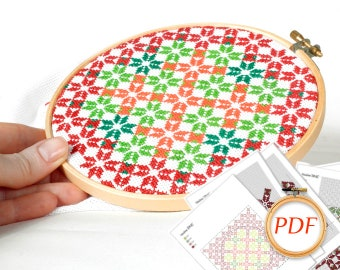 Christmas embroidery Geometric flowers cross stitch pattern Star cross stitch ornament gift christmas pattern pdf cross stitch Holiday decor