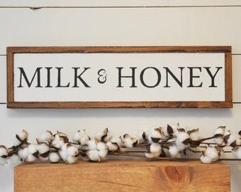 Milk & Honey Wood Sign | Wall Décor | Home Décor