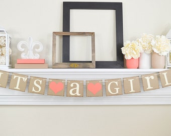 IT'S A GIRL, Baby Shower Decorations,  It's a Girl Banner, Baby Shower Decorations, Baby Announcements, Coral Baby Shower Decorations