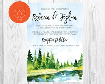 Watercolour lake Wedding Invitation Design