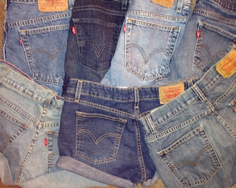 Levi's High Waisted Shorts /LEVI'S Denim Cutoff Shorts custom fit  Vintage Button Fly 501's or Zip Fly Levi Jean Shorts All Sizes High-waist