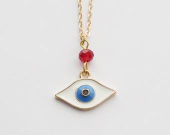 Evil Eye Necklace, Evil Eye Jewelry, Gold Eye Necklace, Mystic Necklace, Eye Necklace, Everyday Necklace, Boho Necklace, Layering Necklace