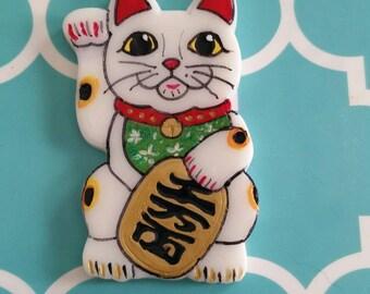 Maneki Neko Lucky Cat brooch