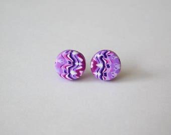 Polymer Clay Stud Earrings, 8 mm purple studs