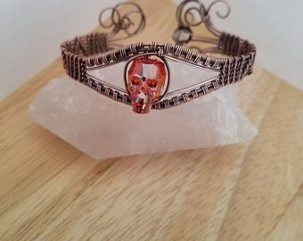 Swarovski Crystal Skull Goth Bracelet Pink Orange Oxidized Copper Wire Wrapped Jewelry Handmade Gothic Boho Cuff Wrap Diamond Quartz