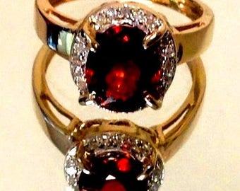 Spessartite Garnet -Diamond ring