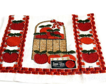 Royal Terry Red Apple Dish Towel, NEW OLD Stock Kitchen Towel, MCM Kitchen Decor, Kitchen Tea Towel, Apple Towel,