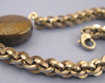 Industrial Jens Pind Chainmaille Bracelet with Bronzite Coin
