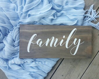 READY MADE - Ships within 3-5 days Wooden Family Sign Handmade & Painted, Gallery Wall Decor  (18.4 x 40 x 2cm) Wood Sign Australia