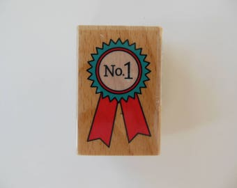 Number One Ribbon Rubber Stamp - Wood Mounted Rubber Stamp