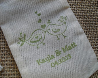 Personalized Love Bird Wedding Muslin Favor Bags Gift Bags or Candy Bags 3x5 - Set of 10 - Item 3M1521
