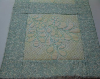 Green Tapunto Machine Embroidered  Table Runner READY TO SHIP!!