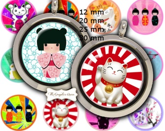 12 mm, 20mm, 30 mm, 1 inch KOKESHI Doll Party 1 inch round circles, Digital Bottle Cap Images, Lucky Cat Japanese Dolls
