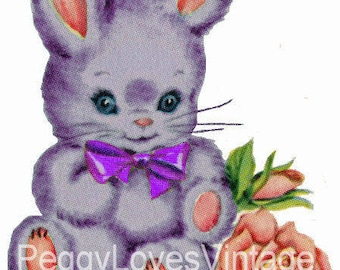 Puple Bunny with Purple Bow Digital Image from Vintage Greeting Cards - Instant Download