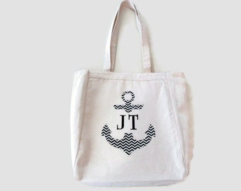 Anchor Tote Bag, Personalized Bag, Monogram Anchor, Nautical Applique Design, Gift For Women or Men, Beach Wedding Gift or Boat  Canvas Tote