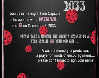 Lady Bug Time Capsule Sign for a First Birthday