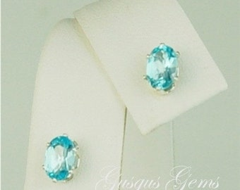 Memorial Day Sale Sky Blue Topaz Studs Sterling Silver 6x4mm 1ctw