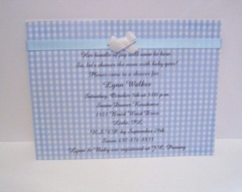 Gingham baby shower invitation with vellum overlay available  in blue, pink, and yellow