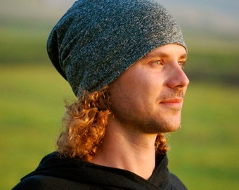 Slouchy Hat for Men -  Unisex - Heather Gray- Organic Cotton Hemp - Eco Friendly - Organic Clothing