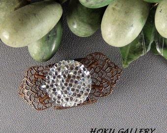 Fit Bit Slide, Jewelry - Swarovski Crystal AB Rocks, Natural Brass Clover Petal Filigree, Wrapped  - Hand Crafted Artisan Jewelry