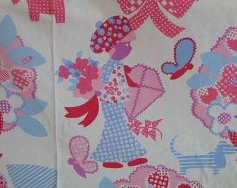 Vintage Yardage, Vintage Fabric, Retro Sixties Fabric, Dog Boy Girl Fabric