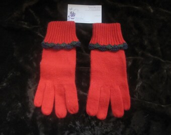 Red Crochet Scallop Edged Lambs Wool Angora Gloves