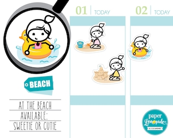 Beach Sweetie Sandcastle sticker swimming sticker playing in the sand sticker Summer stickers removable stickers for kikki k filofax S162163