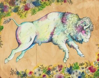 Bison art on topography map,  Archival print, wildlife illustration, animal print, wall art American Bison illustration, buffalo art