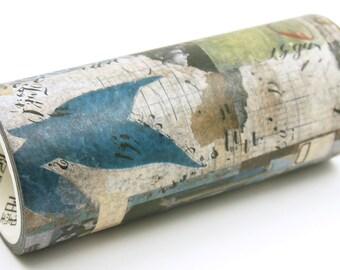 Collage Art 04 Blue Color - Wide Japanese Washi Masking Tape - 100mm wide - 5.5 yard