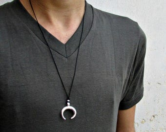 Upside Down Moon Mens Necklace Pendant, Double Horns Mens Silver Leather Necklace, Best Friend, Boyfriend Gift Adjustable