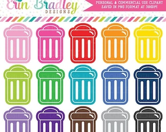 80% OFF SALE Garbage Can Clipart Trash Clip Art Graphics Instant Download Commercial Use OK