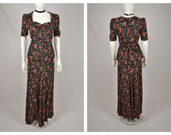 Vintage 70's does 30's Ditsy Floral Print Cotton maxi Skirt and Top Ensemble Co-Ord Dress Suit xs 24 inch waist