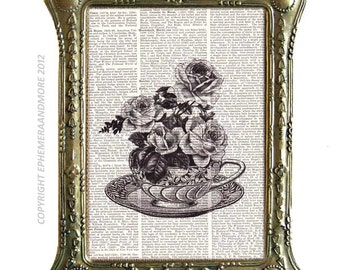 ROSE TEA CUP art print Victorian kitchen dining wall decor on upcycled vintage dictionary book page black white unframed Tea for Two 8x10