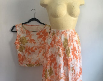 Mid Century Floral Pleated Skirt Crop Top Matching Set